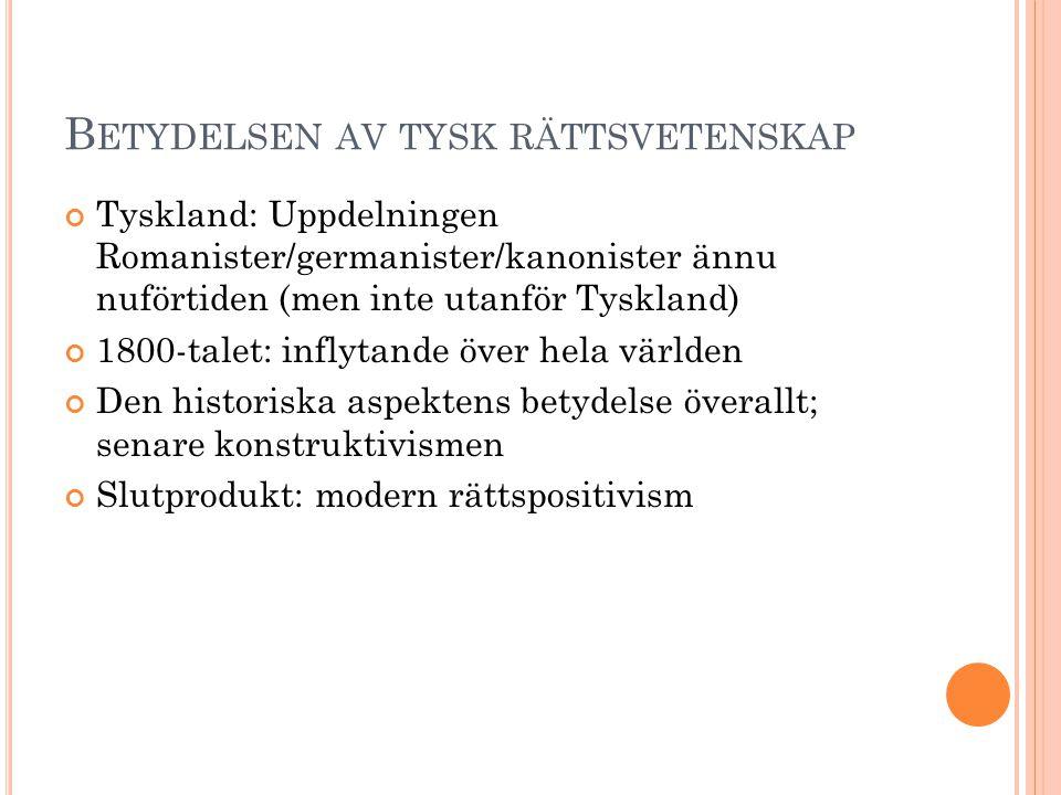 B ETYDELSEN AV TYSK RÄTTSVETENSKAP Tyskland: Uppdelningen Romanister/germanister/kanonister ännu nuförtiden (men inte utanför Tyskland) 1800-talet: in