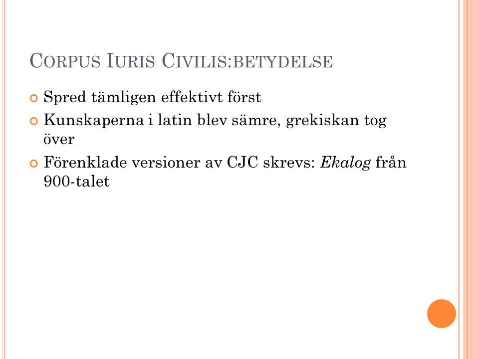 C ORPUS I URIS C IVILIS : BETYDELSE Spred tämligen effektivt först Kunskaperna i latin blev sämre, grekiskan tog över Förenklade versioner av CJC skre