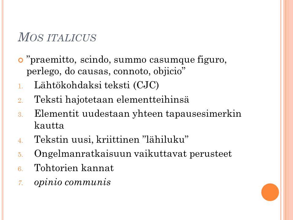 "M OS ITALICUS ""praemitto, scindo, summo casumque figuro, perlego, do causas, connoto, objicio"" 1. Lähtökohdaksi teksti (CJC) 2. Teksti hajotetaan elem"