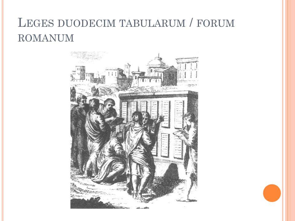 L EGES DUODECIM TABULARUM / FORUM ROMANUM