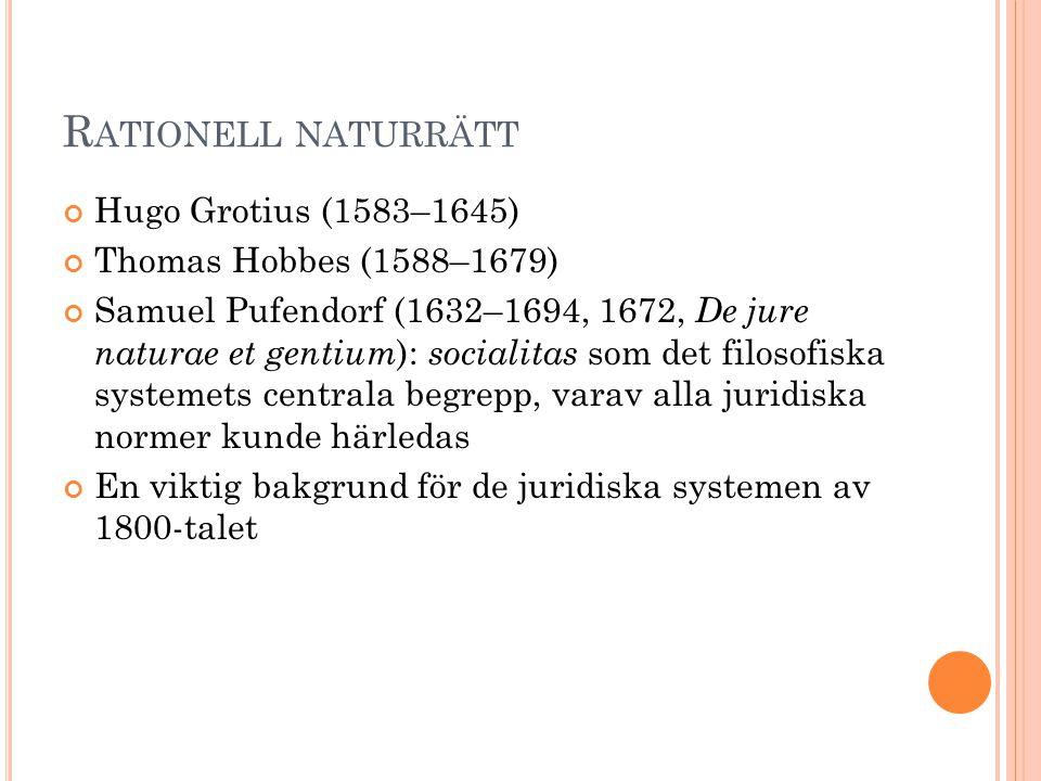 R ATIONELL NATURRÄTT Hugo Grotius (1583–1645) Thomas Hobbes (1588–1679) Samuel Pufendorf (1632–1694, 1672, De jure naturae et gentium ): socialitas so