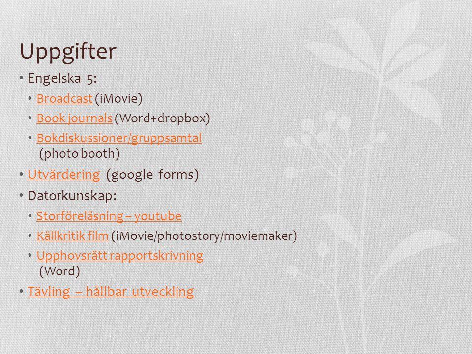 Webbaserade resurser • Pedagogiskt fönster Pedagogiskt fönster • Ur.se (+Skola Nu) Ur.se • BBC BBC • Typewith.me Typewith.me • Wordpress Wordpress • Twitter Twitter