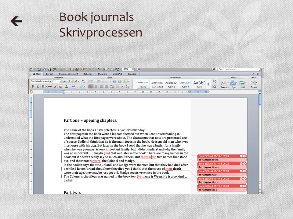 Book journals Skrivprocessen 