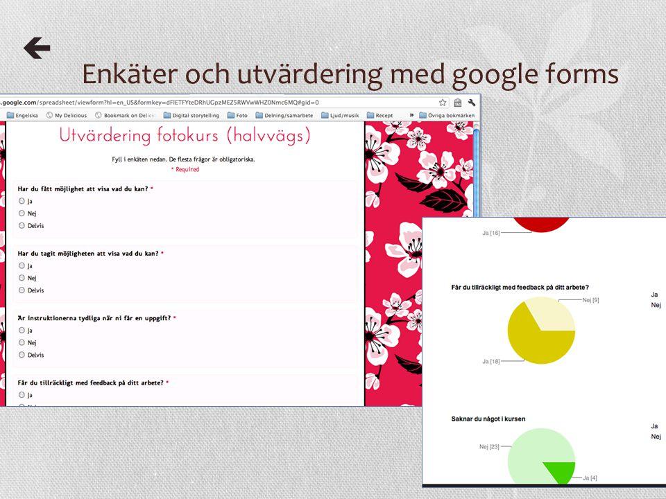 Enkäter och utvärdering med google forms 