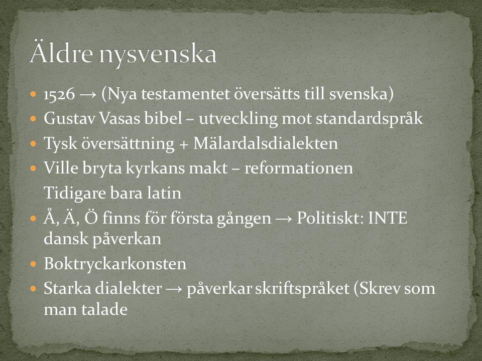  1526 → (Nya testamentet översätts till svenska)  Gustav Vasas bibel – utveckling mot standardspråk  Tysk översättning + Mälardalsdialekten  Ville