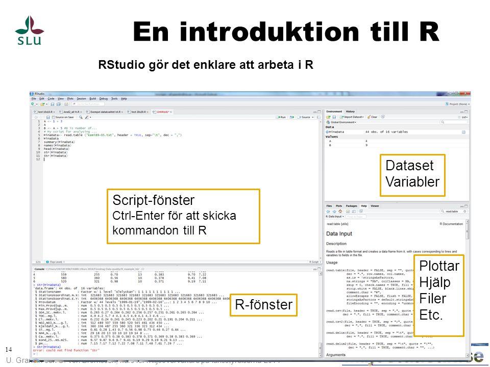 U. Grandin och C. von Brömssen, kurs för miljöövervakare på länsstyrelserna 2014 14 En introduktion till R RStudio gör det enklare att arbeta i R Scri