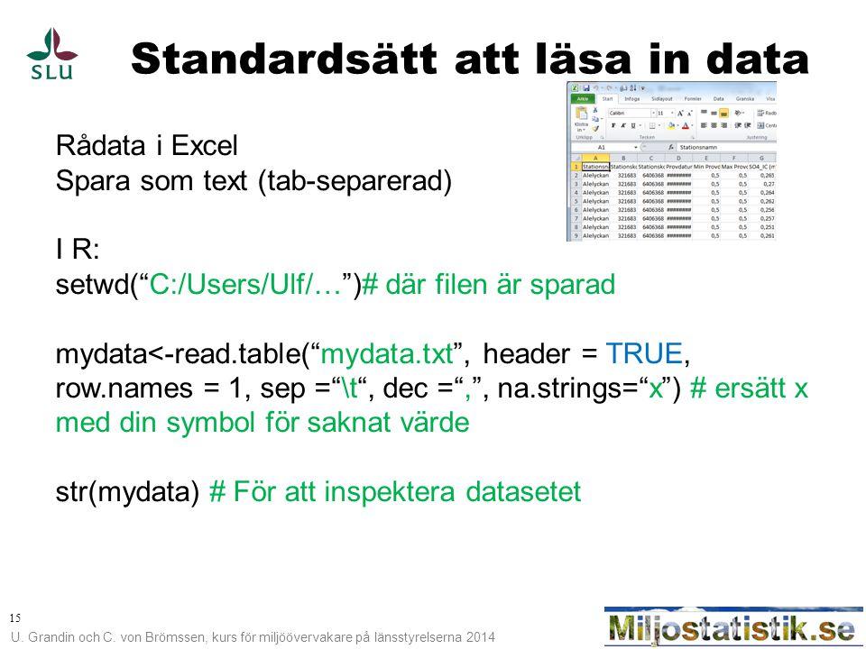 U. Grandin och C. von Brömssen, kurs för miljöövervakare på länsstyrelserna 2014 15 Standardsätt att läsa in data Rådata i Excel Spara som text (tab-s