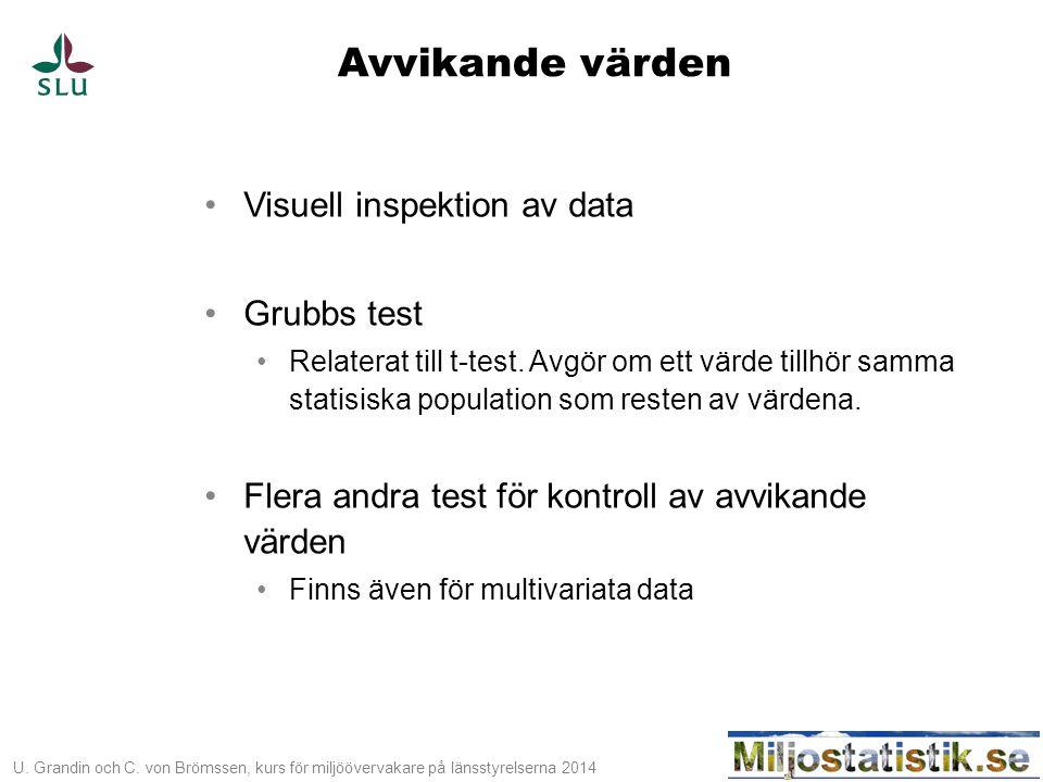 U. Grandin och C. von Brömssen, kurs för miljöövervakare på länsstyrelserna 2014 Avvikande värden •Visuell inspektion av data •Grubbs test •Relaterat