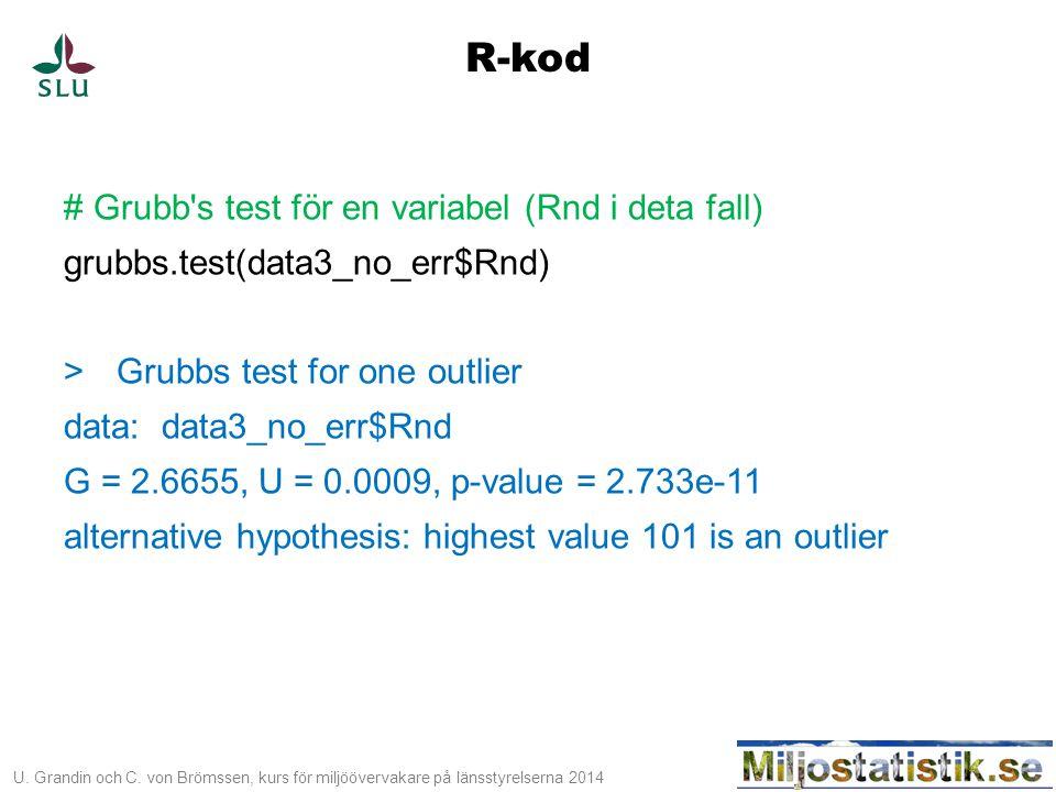 U. Grandin och C. von Brömssen, kurs för miljöövervakare på länsstyrelserna 2014 # Grubb's test för en variabel (Rnd i deta fall) grubbs.test(data3_no