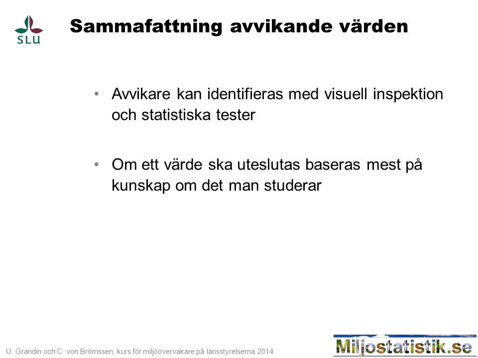 U. Grandin och C. von Brömssen, kurs för miljöövervakare på länsstyrelserna 2014 Sammafattning avvikande värden •Avvikare kan identifieras med visuell