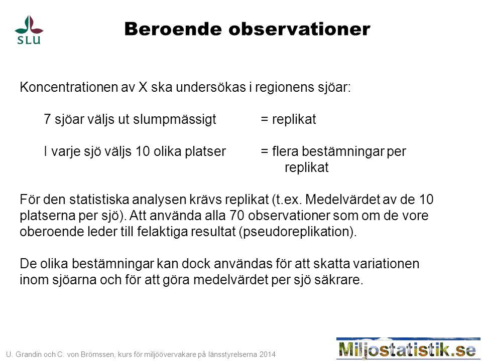 U. Grandin och C. von Brömssen, kurs för miljöövervakare på länsstyrelserna 2014 Beroende observationer Koncentrationen av X ska undersökas i regionen