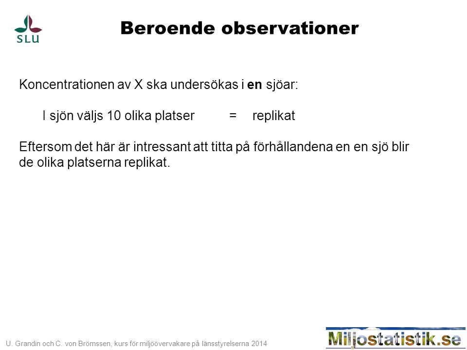 U. Grandin och C. von Brömssen, kurs för miljöövervakare på länsstyrelserna 2014 Beroende observationer Koncentrationen av X ska undersökas i en sjöar