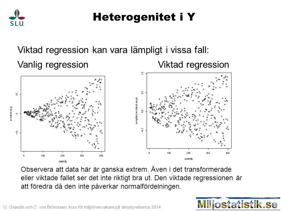 U. Grandin och C. von Brömssen, kurs för miljöövervakare på länsstyrelserna 2014 Heterogenitet i Y Viktad regression kan vara lämpligt i vissa fall: V