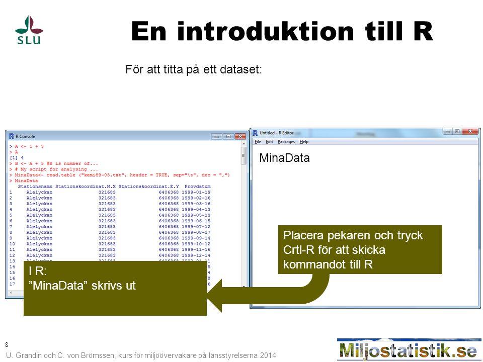 U. Grandin och C. von Brömssen, kurs för miljöövervakare på länsstyrelserna 2014 8 En introduktion till R För att titta på ett dataset: MinaData I R:
