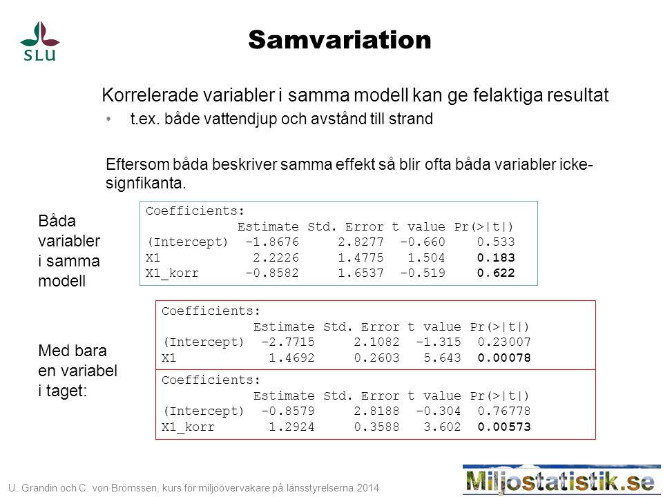 U. Grandin och C. von Brömssen, kurs för miljöövervakare på länsstyrelserna 2014 Samvariation Korrelerade variabler i samma modell kan ge felaktiga re