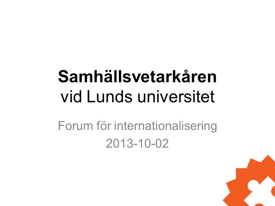 Samhällsvetarkåren vid Lunds universitet Forum för internationalisering 2013-10-02