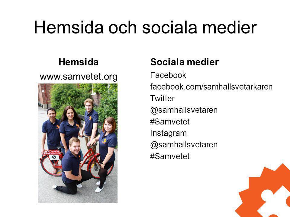 Hemsida och sociala medier Hemsida www.samvetet.org Sociala medier Facebook facebook.com/samhallsvetarkaren Twitter @samhallsvetaren #Samvetet Instagr