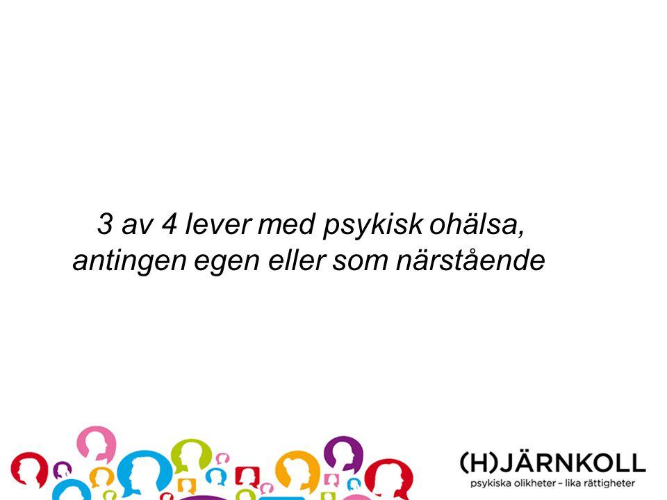 3 av 4 lever med psykisk ohälsa, antingen egen eller som närstående