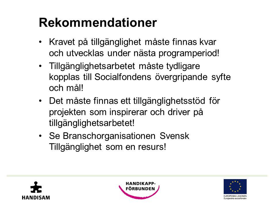 Rekommendationer •Kravet på tillgänglighet måste finnas kvar och utvecklas under nästa programperiod.