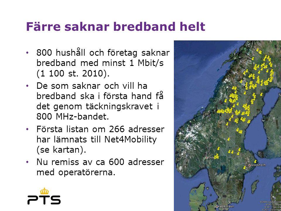 Färre saknar bredband helt • 800 hushåll och företag saknar bredband med minst 1 Mbit/s (1 100 st.