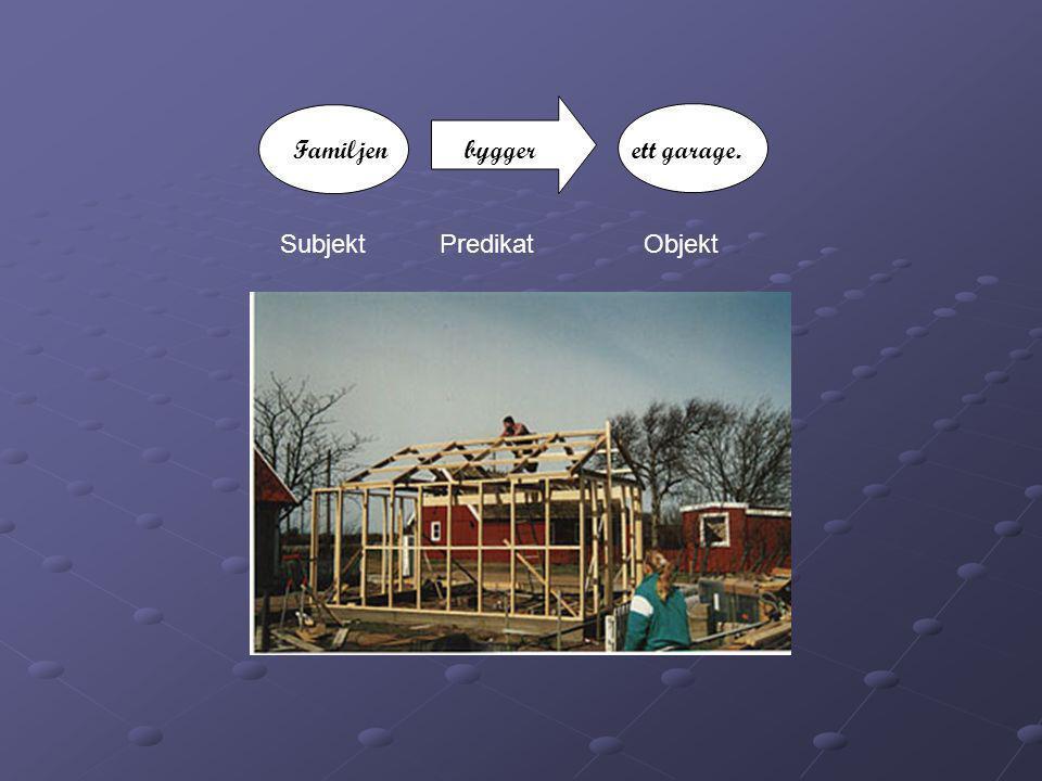 Familjen bygger ett garage. Subjekt Predikat Objekt