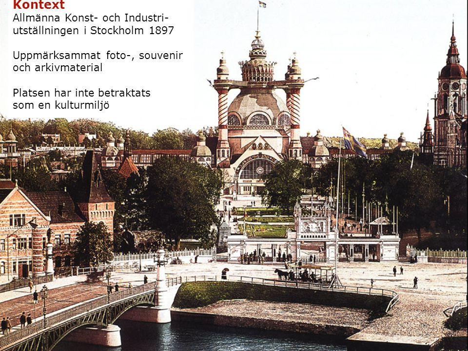 Kontext Allmänna Konst- och Industri- utställningen i Stockholm 1897 Uppmärksammat foto-, souvenir och arkivmaterial Platsen har inte betraktats som en kulturmiljö