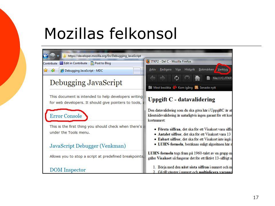 Mozillas felkonsol 17