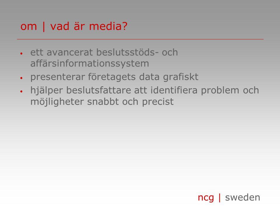 ncg | sweden • ett avancerat beslutsstöds- och affärsinformationssystem • presenterar företagets data grafiskt • hjälper beslutsfattare att identifiera problem och möjligheter snabbt och precist om | vad är media?