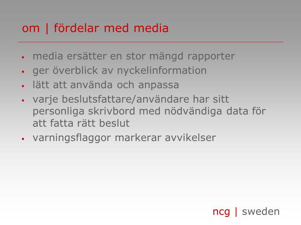 ncg | sweden • media ersätter en stor mängd rapporter • ger överblick av nyckelinformation • lätt att använda och anpassa • varje beslutsfattare/användare har sitt personliga skrivbord med nödvändiga data för att fatta rätt beslut • varningsflaggor markerar avvikelser om | fördelar med media