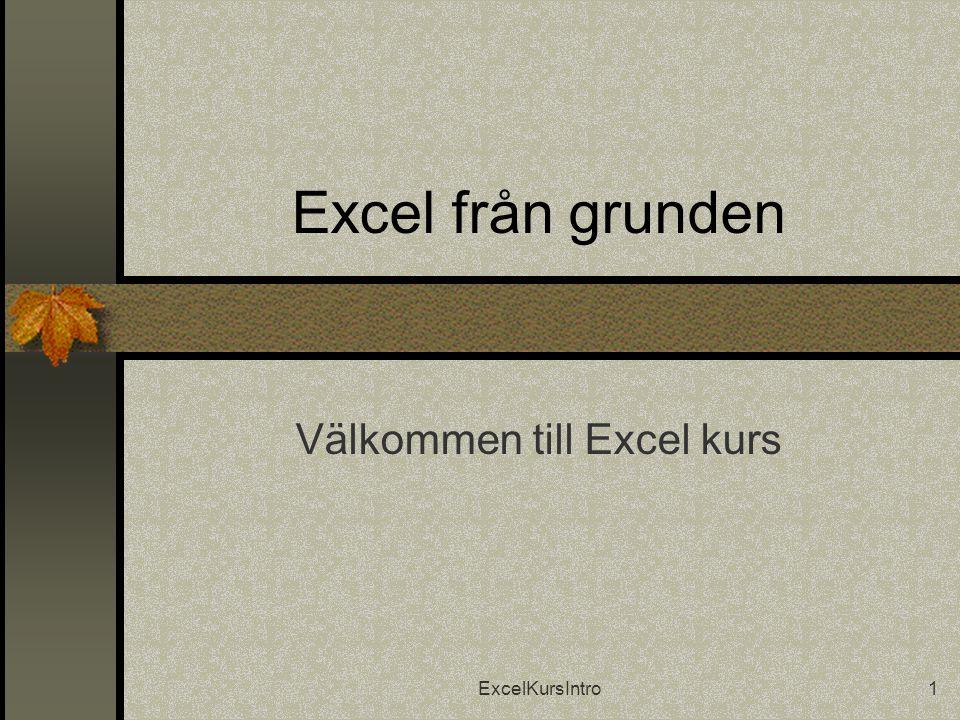 ExcelKursIntro2 Introduktion  Praktiskt  Tider  Fika  Nästa gång  Varför just Excel?