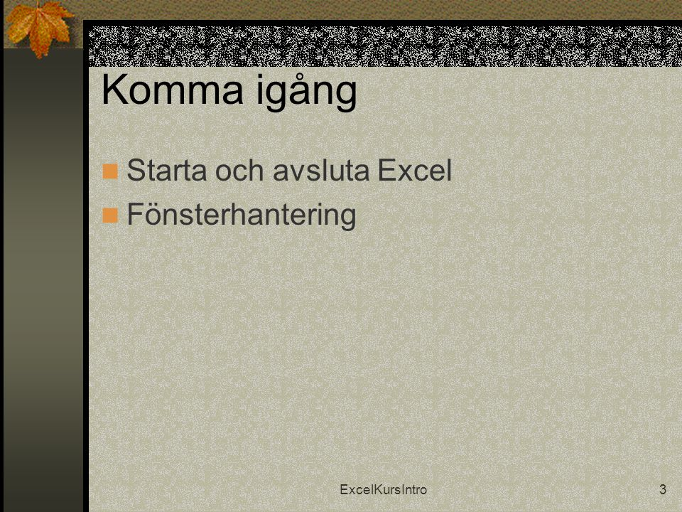 ExcelKursIntro3 Komma igång  Starta och avsluta Excel  Fönsterhantering