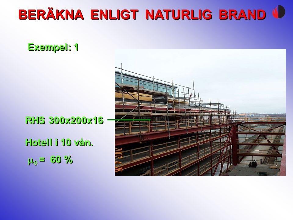 BERÄKNA ENLIGT NATURLIG BRAND   = 60 % Exempel: 1 RHS 300x200x16 Hotell i 10 vån.