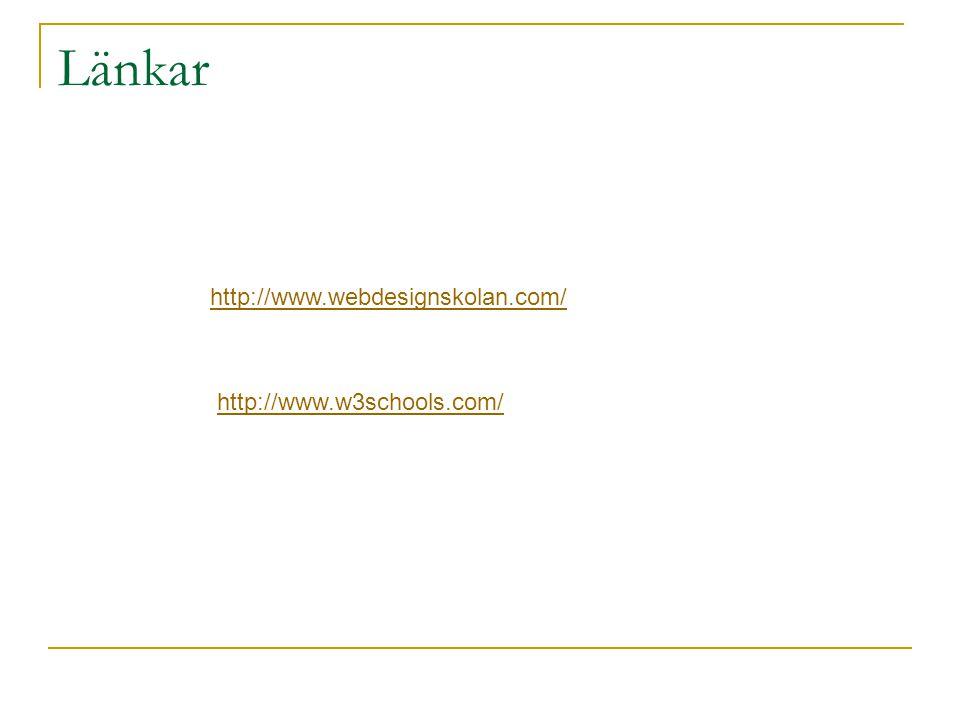 Länkar http://www.webdesignskolan.com/ http://www.w3schools.com/
