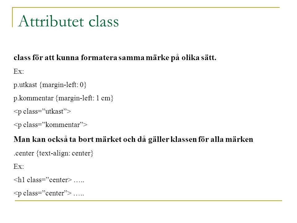 Attributet class class för att kunna formatera samma märke på olika sätt.