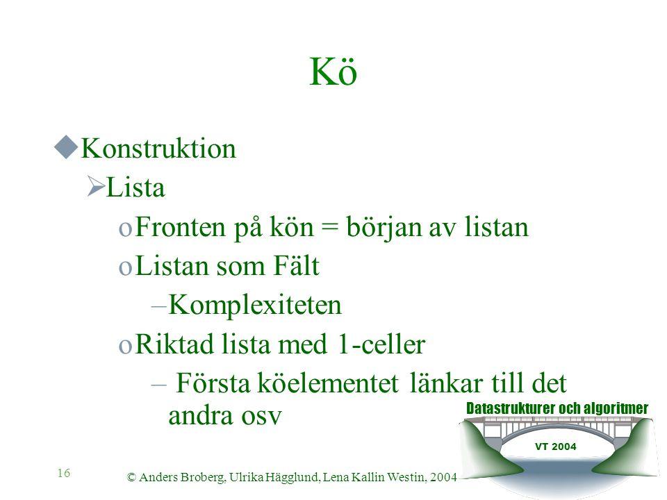Datastrukturer och algoritmer VT 2004 © Anders Broberg, Ulrika Hägglund, Lena Kallin Westin, 2004 16 Kö  Konstruktion  Lista oFronten på kön = börja