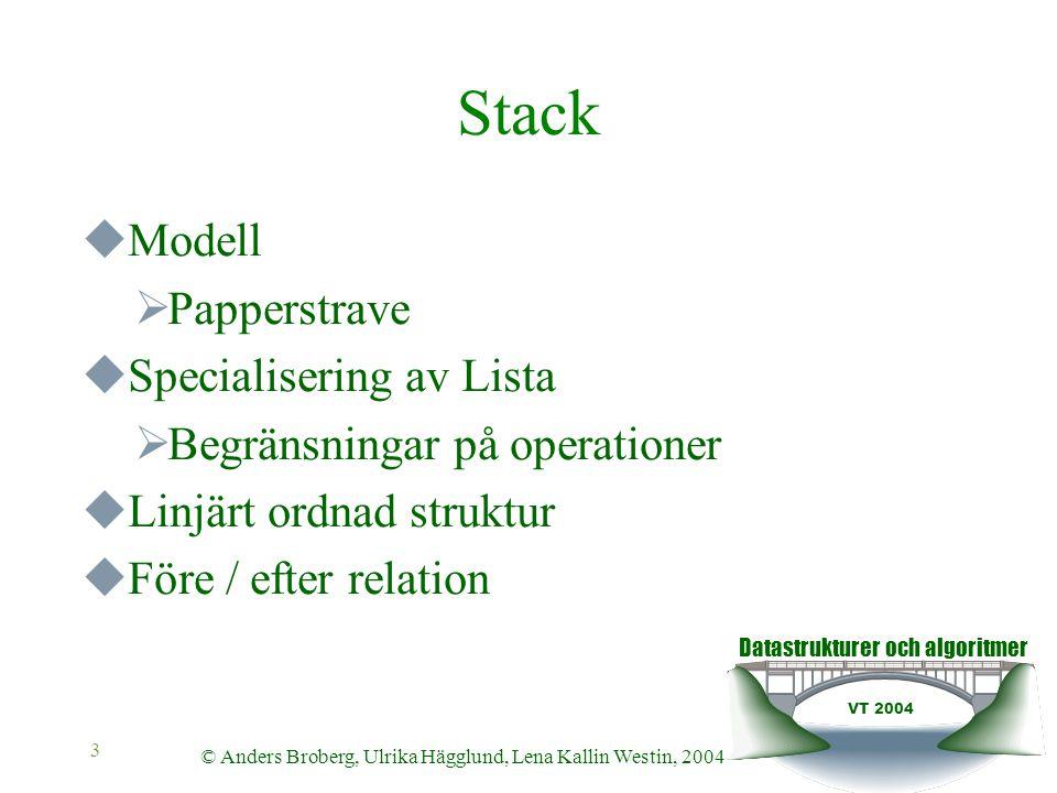 Datastrukturer och algoritmer VT 2004 © Anders Broberg, Ulrika Hägglund, Lena Kallin Westin, 2004 4 Stack  LIFO – Last In First Out  Insättning, borttagning, avläsning i toppen av stacken