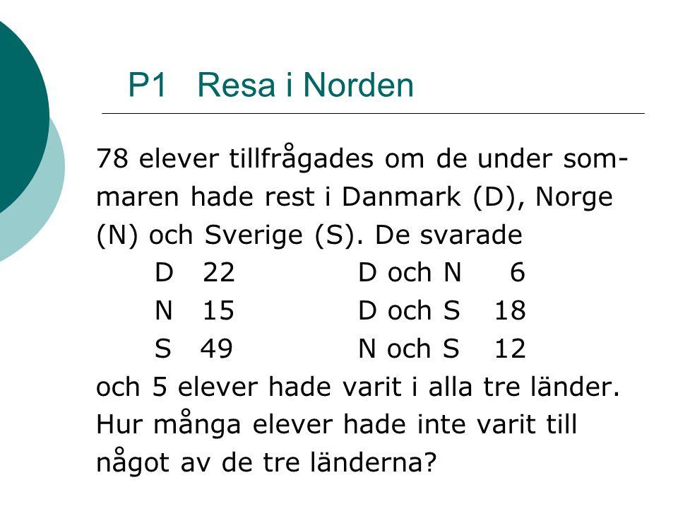 P1 Resa i Norden 78 elever tillfrågades om de under som- maren hade rest i Danmark (D), Norge (N) och Sverige (S).