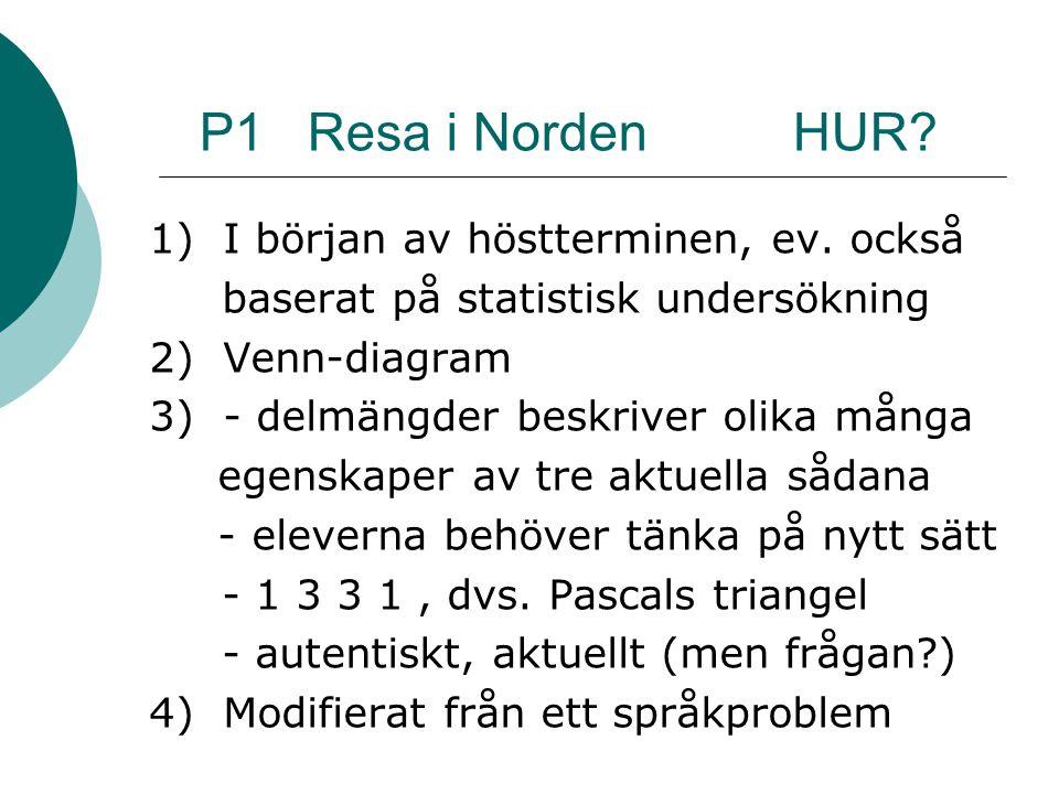 P1 Resa i Norden HUR.1) I början av höstterminen, ev.