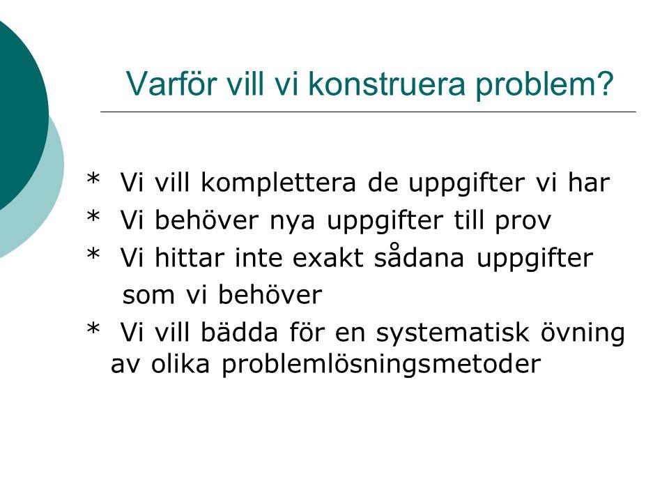 Varför vill vi konstruera problem.