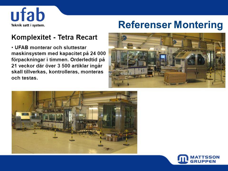 Referenser Montering Komplexitet - Tetra Recart • UFAB monterar och sluttestar maskinsystem med kapacitet på 24 000 förpackningar i timmen. Orderledti