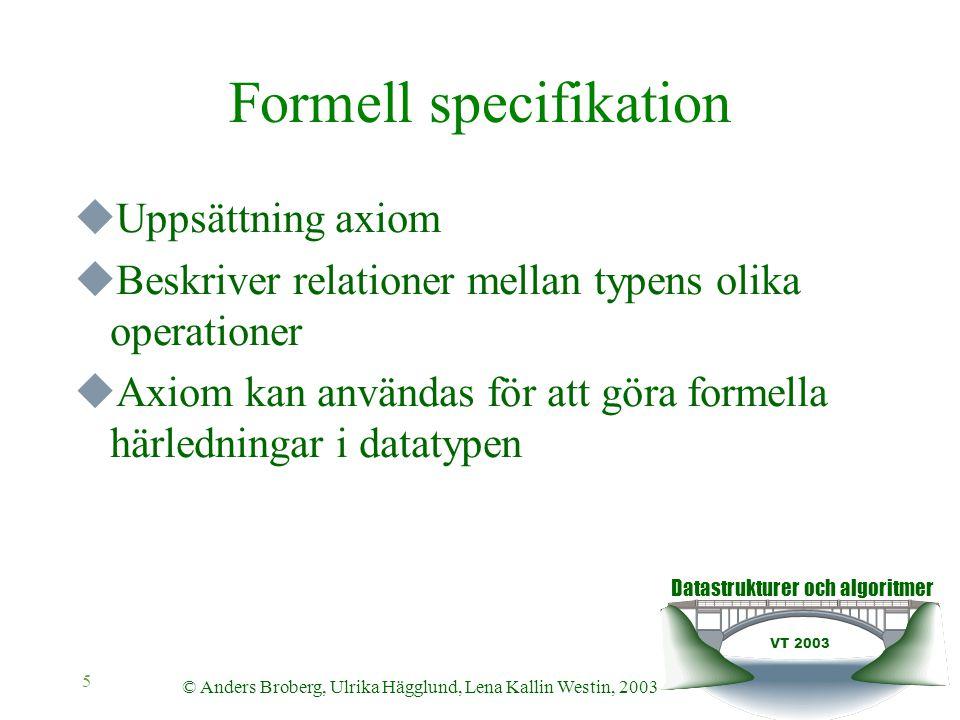 Datastrukturer och algoritmer VT 2003 © Anders Broberg, Ulrika Hägglund, Lena Kallin Westin, 2003 5 Formell specifikation  Uppsättning axiom  Beskriver relationer mellan typens olika operationer  Axiom kan användas för att göra formella härledningar i datatypen