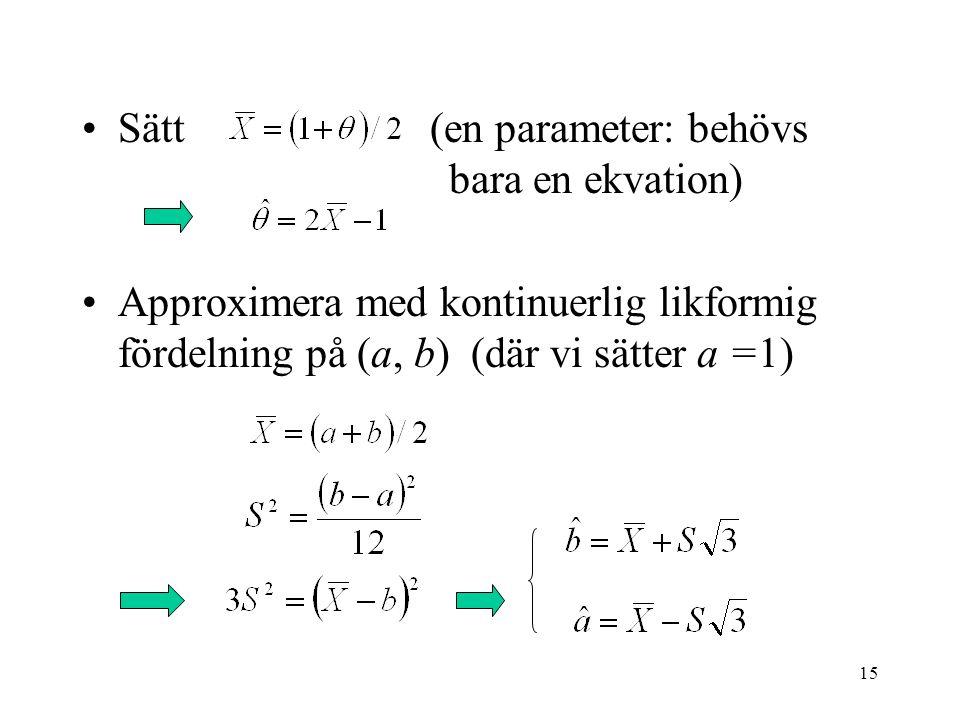 15 •Sätt (en parameter: behövs bara en ekvation) •Approximera med kontinuerlig likformig fördelning på (a, b) (där vi sätter a =1)