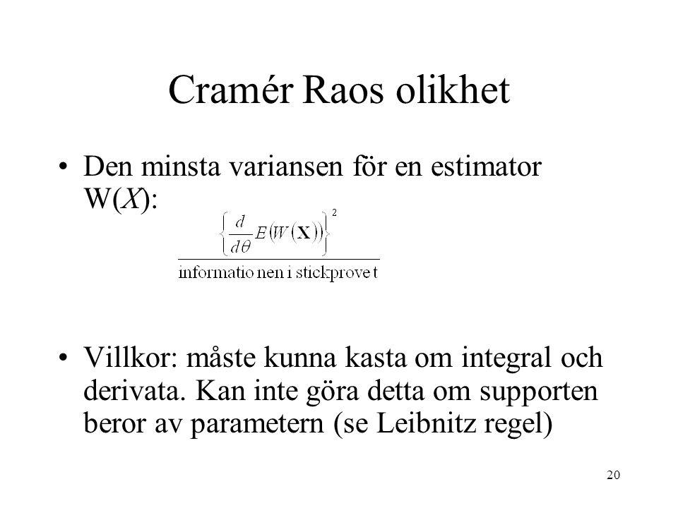20 Cramér Raos olikhet •Den minsta variansen för en estimator W(X): •Villkor: måste kunna kasta om integral och derivata. Kan inte göra detta om suppo