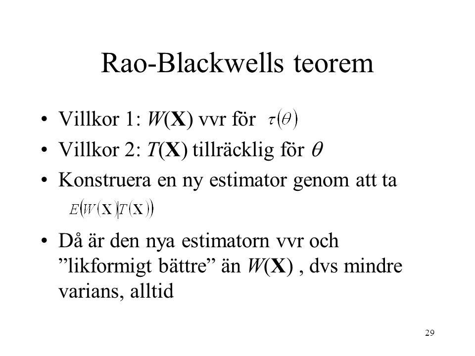 29 Rao-Blackwells teorem •Villkor 1: W(X) vvr för •Villkor 2: T(X) tillräcklig för  •Konstruera en ny estimator genom att ta •Då är den nya estimator