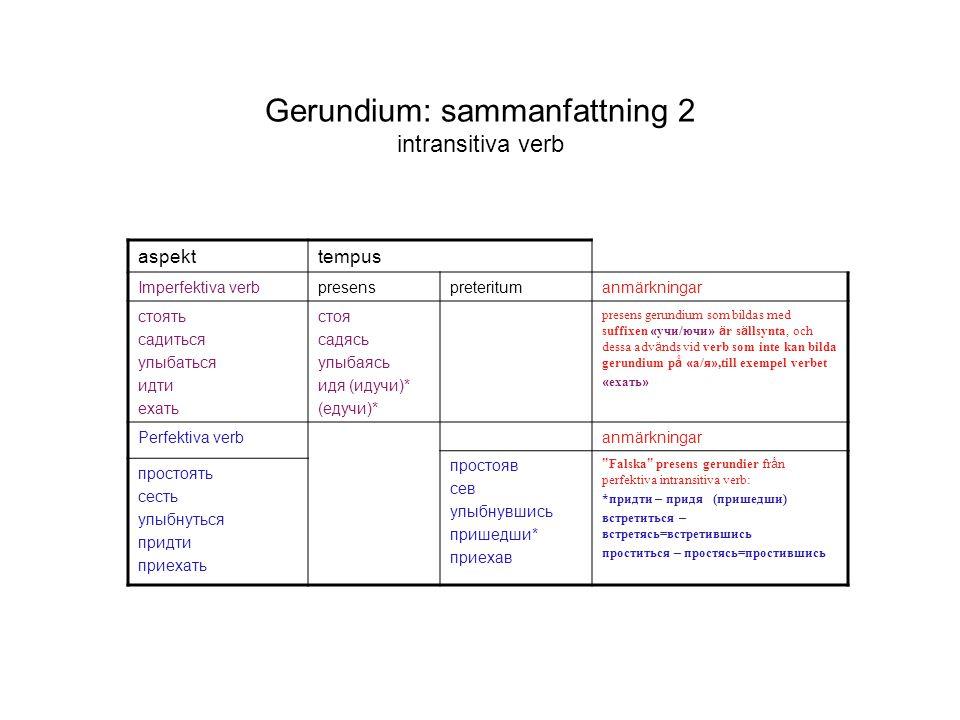 Gerundium: sammanfattning 2 intransitiva verb aspekttempus Imperfektiva verbpresenspreteritumanmärkningar стоять садиться улыбаться идти ехать стоя са