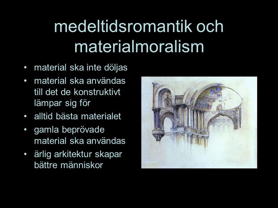medeltidsromantik och materialmoralism •material ska inte döljas •material ska användas till det de konstruktivt lämpar sig för •alltid bästa materialet •gamla beprövade material ska användas •ärlig arkitektur skapar bättre människor