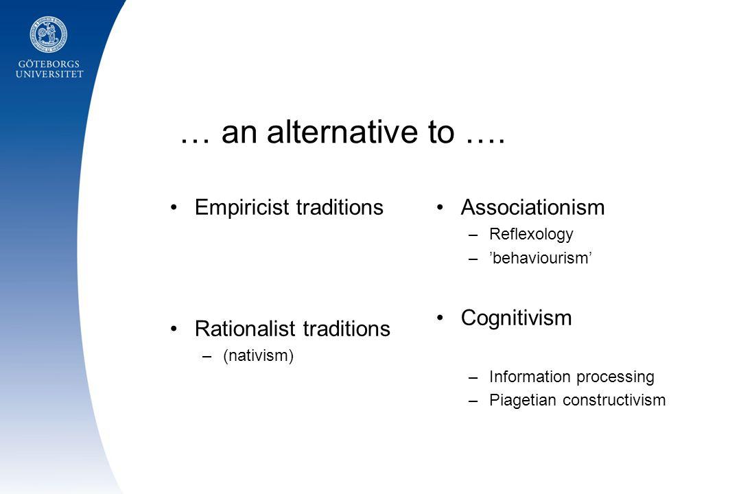 •Empiricism •Rationalism Socio-cultural perspectives Wittgensteinian perspectives on language/communication Pragmatism/Dialogism Ecological psychology Fenomenologiska perspektiv