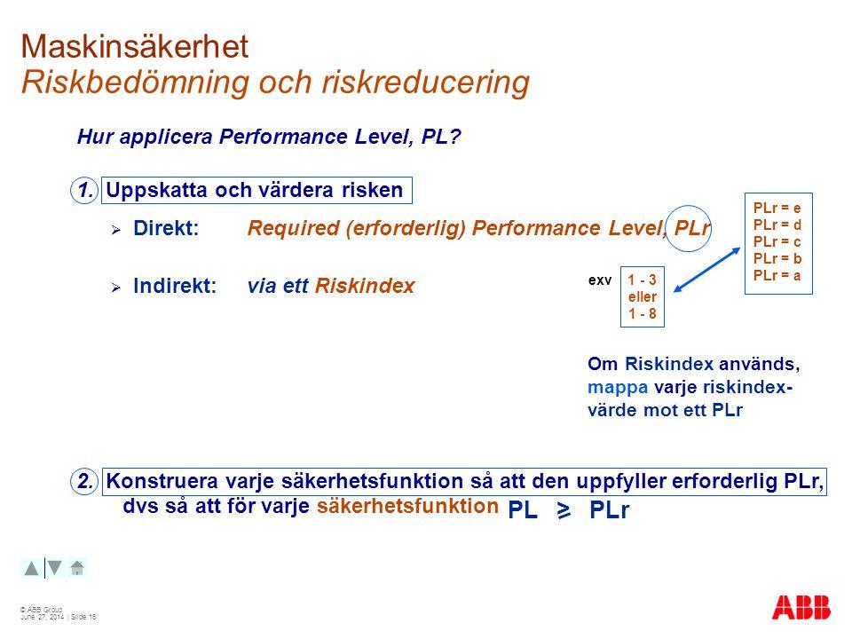 © ABB Group June 27, 2014 | Slide 16 Maskinsäkerhet Riskbedömning och riskreducering Hur applicera Performance Level, PL.