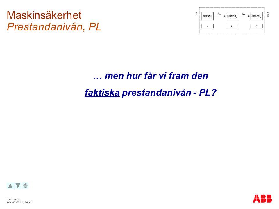 © ABB Group June 27, 2014 | Slide 23 Maskinsäkerhet Prestandanivån, PL … men hur får vi fram den faktiska prestandanivån - PL?