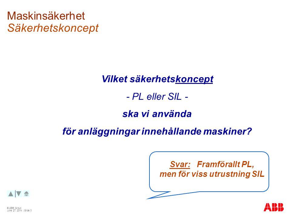 © ABB Group June 27, 2014 | Slide 3 Maskinsäkerhet Säkerhetskoncept Vilket säkerhetskoncept - PL eller SIL - ska vi använda för anläggningar innehållande maskiner.